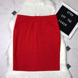 H&M red pencil skirt w/ functional front pockets 6